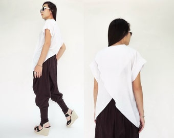 NO.149 White Cotton-Blend Jersey Cross Back Top  T-Shirt