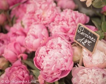 Paris Photography - Paris Peonies in Parisian Flower Market, France, French Fine Art Travel Photo, Wall Art, Home Decor