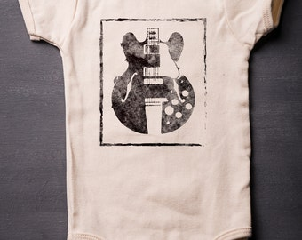 Guitar ONESIES® - Music Baby Bodysuit - Baby Shower Gifts - Music - Gibson - Screen Printed - Baby Clothes - Rocker - MicroThreads Apparel