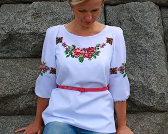 Blouse hand embroidery beaded Embroided womens blouse white Ukrainian embroidery Ukrainian clothing ethnicity Ethnic dress