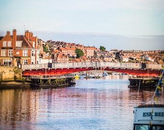 "Whitby Harbour Photography - English Seaside Town - Fishing Village - ""Swing Bridge"""