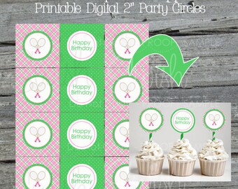 Tennis Party Cupcake Toppers | Digital Download | Tennis Party Ideas | Dessert Table | Tennis Love pink green argyle | INSTANT DOWNLOAD