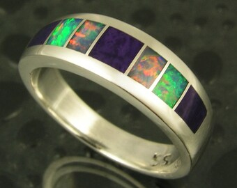 Australian Opal Wedding Ring, Australian Opal and Sugilite Wedding Band, Opal Wedding Band, Sugilite Wedding Band