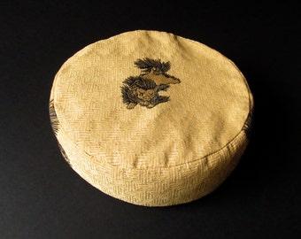 Meditation Cushion, Zafu - Asian Lion - buckwheat hulls
