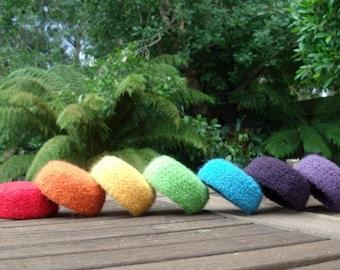 Felted Wool Mini Bowl / Set of 7 / Rainbow Bowls / Crochet Bowls