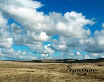 Landscape, Blue Skies, Clouds, Rolling Hills
