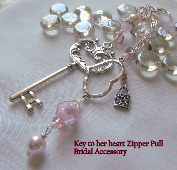 Key to her heart zipper pull - on her wedding day gift -  pink key charm zipper pull -  crystal bridal gift - cottage chic wedding accessory