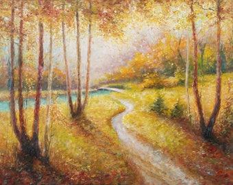 AUTUMN WALK, 50x70cm, autumn trees original oil landscape