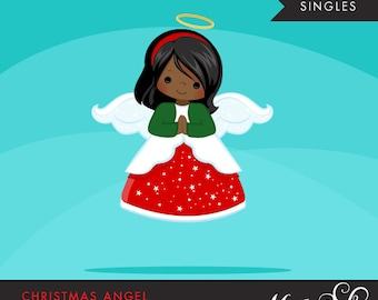 Christmas Angel Clipart. Dark skin African American, holiday, ornaments, illustration, graphic, cute, character, religious