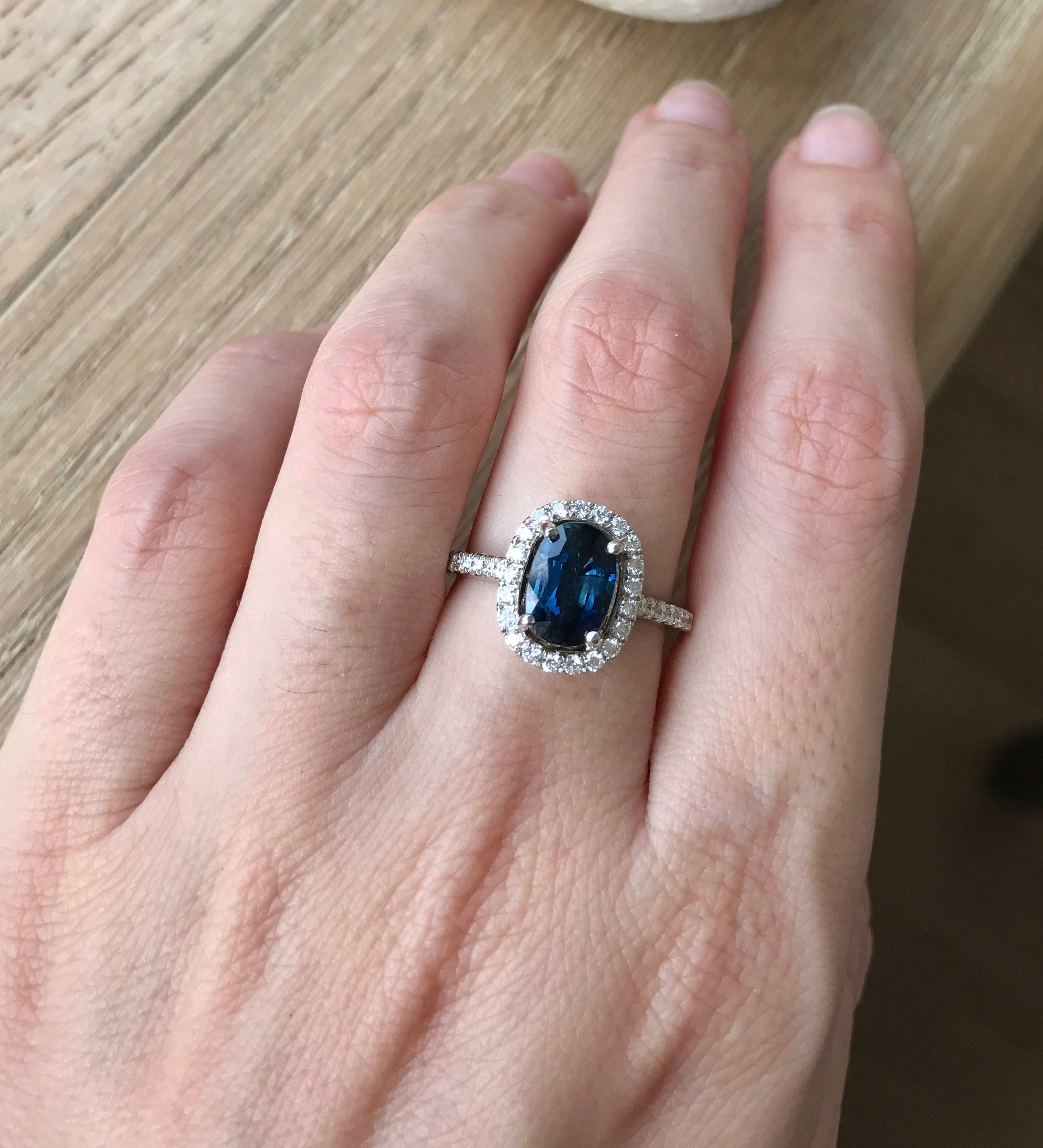 carat made in natural victorian engagement ring sapphire vintage blue cut with single rings centered an pin gold accented approximately and weighing yellow diamonds
