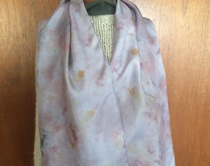 Lovely Lilac  - naturally dyed silk scarf, ecofriendly fashion, one of a kind wearable art