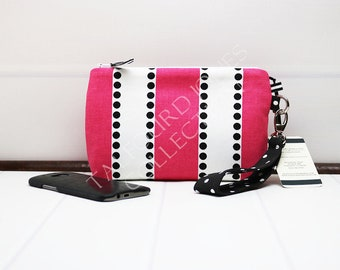 Striped Iphone Wristlet - Smartphone Wristlet - Wrist Strap Purse - Cell Phone Clutch - Zipper Phone Wallet - Pink Stripe Bag