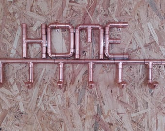 Handmade Copper pipe coat/hat hangers with custom made names or numbers