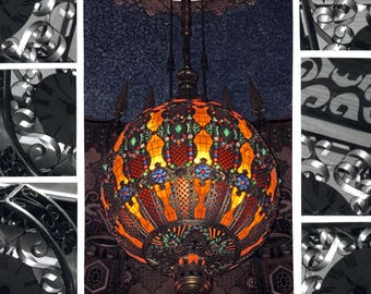 Colorful Photography Duo - Fox Theater Chandelier & B/W Filigree Clock