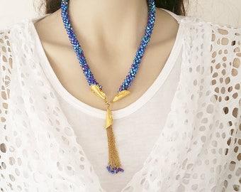 Blue Necklace, Swarovski Necklace, Crystal Necklace, Swarovski Crystal Necklace, Long Necklace, Gift For Her, Blue Swarovski Necklace