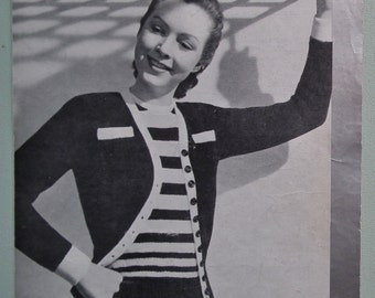 Vintage 1940s Knitting Pattern Women's Twin Set Jumper / Sweater Cardigan stripes retro 40s original pattern P&B 377 UK silver edge series