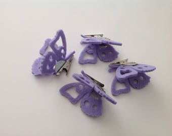 set of 4 Butterfly purple with metal clip