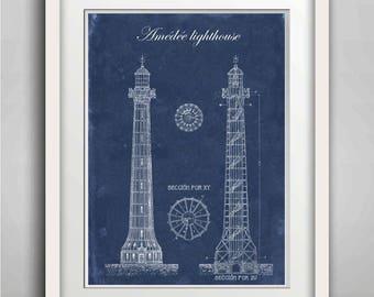 Lighthouse Print, Amédée Lighthouse, Architectural drawing, , Lighthouse Wall Art, Kid Room Decor, Nautical Poster, New Caledonia