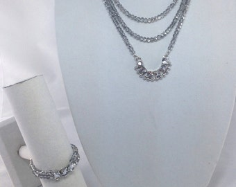 Crystal 3 Strand Necklace Earring and Bracelet Set - Crystal Jewelry Set - Jewelry Set - Crystal -
