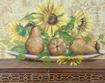 Title: Damask & Pears II - Original painting on flat canvas