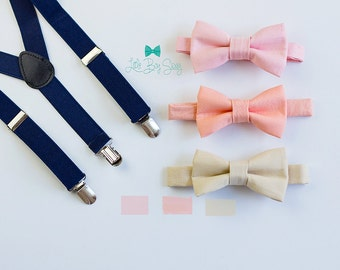Navy Suspenders Nude Blush or Peach Bow Tie, Kids and Adult Bow Tie Suspenders, Ring Bearers Outfits, Baby Boy Bow Tie, Weddings, Boys Gift