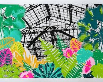 Tropical Glasshouse Screen Print, A3 Plant Print, Tropical Plant Screenprint, Cheese Plant, Tropical Art Print, Botanical Green House Print