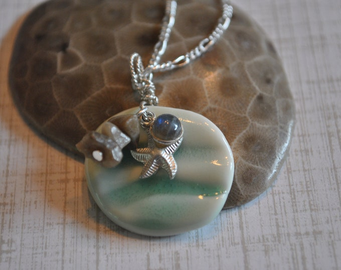 Petoskey Stone nugget and ceramic necklace with sterling starfish charm and labradorite charm, Michigan necklace, Up North