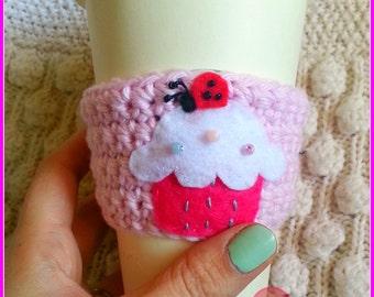 Crochet cup cozy, CHERRY CUPCAKE LADYBUG cup cozy - Pastel Pink - Ready to Ship, pink, ladybug, coffee sleeve, eco, cupcake, coffee cozy