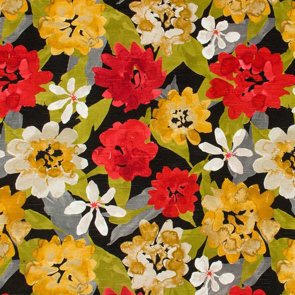 Red Grey Floral Cotton Upholstery Fabric Abstract Yellow