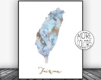 Taiwan Print Taiwan Art Print Watercolor Map Taiwan Map Decor Wall Art Prints Marble Wall Art  ArtPrintsZoe