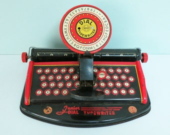 Vintage Junior Dial Toy Typewriter By Marx Toys, Art Deco Styling, Tin, Metal, Red, Yellow, Cream, Black, Fun for Home Decor