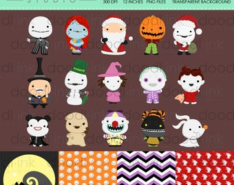 SALE 50%!!! Scary Nightmare Digital Clipart / Cute Hallowen Character Clip Art / Digital Paper For Personal Use / INSTANT DOWNLOAD