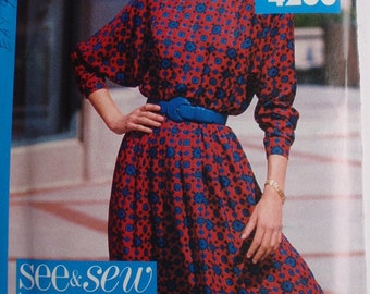 SALE - Woman's Easy Blouson Dress Sewing Pattern - Butterick See and Sew 4260 - Sizes 16 - 24, Bust 38 - 46, Uncut