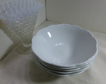 5 Jackson China White Cereal Bowls Scalloped Edge