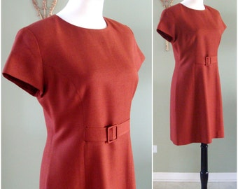 Vintage Wool Dress, 90s Rust Wool Shift Dress, Wool Burnt Orange Short Shift Dress, Rust Shift Dress with Cap Sleeves by Barami Size S / M
