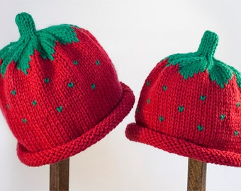 Child Adult Hat Rolled Brim Beanie Color: STRAWBERRY