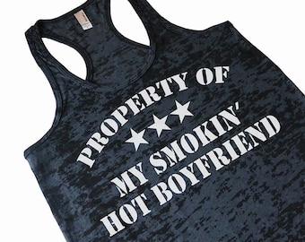 Property of My Smokin' Hot Boyfriend Women's Burnout Tank Top Valentine's Gift For Girlfriend From Boyfriend Funny Workout Tank Top