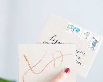 xo | custom calligraphed message on embossed xo card