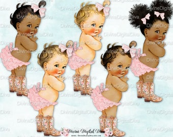Country Cutie Pink Gingham Ruffle Pants Cowgirl Boots | Vintage Baby Girl | 3 Skin Tones | Clipart Instant Download