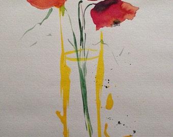 Original watercolor watercolor painting flowers picture unique art Watercolor flowers mixed media