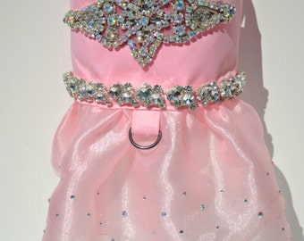 Dog Dress - Dog Wedding Dress - Dog Harness Dress - Pink Dog Dress - Fancy Dog Dress - Paris Pink Princess Bling Dress