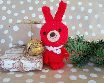 Amigurumi Bunny - Knitted Banny - Crochet Rabbit - Easter Decor - Stuffed Animal - Hand Knit Toy - Red Rabbit - Goddaughter Gift - Hand Knit