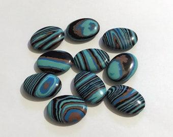 25mm Blue Calsilica Rainbow Swirl Oval Beads Lot of 10