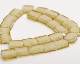 14x16mm Olive Yellow Green Glass Puff Rectangle Beads - 15 inch strand - 17 pieces