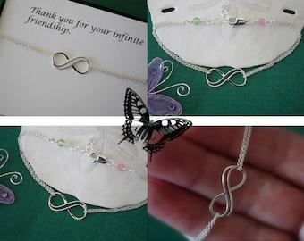 4 Bridesmaid Infinity Bracelets, Silver, Infinity Jewelry, Karma , Friendship, Thank You Card, Infinity Jewelry