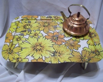 LARGE Size Retro Daisy Lap Tray,Mod Groovy Floral TV Lap TV Colorful Yellow Daisies,Orange Daisies,Dinner Tray Table