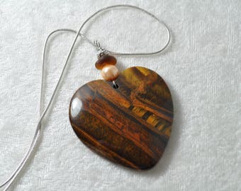 Gorgeous Large Natural Tiger Eye Shining Heart Necklace Pendant with Genuine Amber Sea Glass & Peach Pearl Bead Free Shipping B176