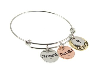 Grateful. Thankful. Blessed - Mantra Bracelet - Handstamped Jewelry - Inspirational Jewelry - Expressions Bracelets - Unique Gifts Under 35