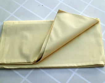 Vintage Piece of bed sheet fabric - Bedsheet fabric - Yellow Heavy cotton - 1950s