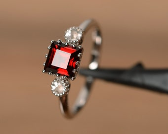 natural garnet ring January birthstone red gemstone ring red garnet sterling silver square cut engagement ring for her